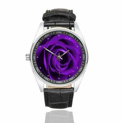 InterestPrint Men's Casual Black Leather Strap Watches Firew